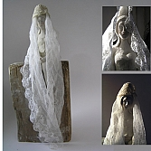 fishing bride | keramiek, hout | h. 40 cm.