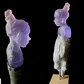 Gebakerd 1 | gegoten glas, steen en lood | h.50 cm, inclusief sokkel 60 cm.