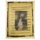 Iris | gemengde techniek met acryl, Japans papier en glas op doek | 40x40 cm.