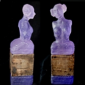 Layerd | gegoten glas en hout | h. 30, b. 8, d. 8 cm.