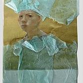 Scheurdel | gemengde techniek | zijdepapier en acryl op papier | 20 x 15 cm.