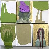 Scheursels | gemengde techniek met papier en acryl op doek | 6 x 18 x 13 cm.
