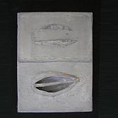 Seeds 1 | olieverf , acryl schelp op doek | 18x13 cm.