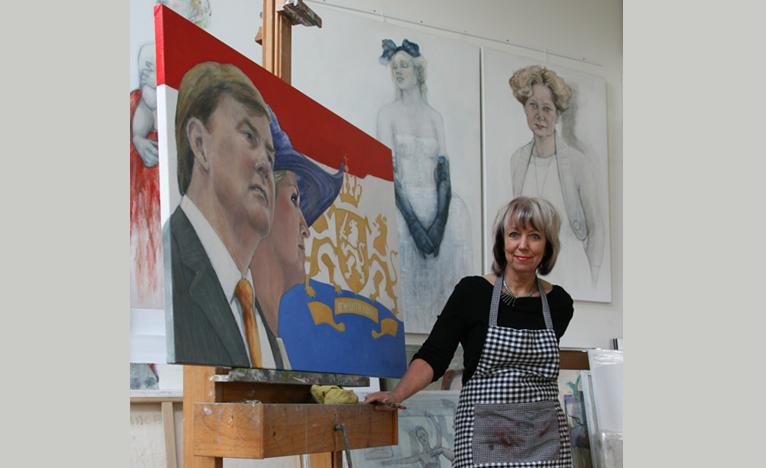 Marlies Vonk bij koningsportretportret
